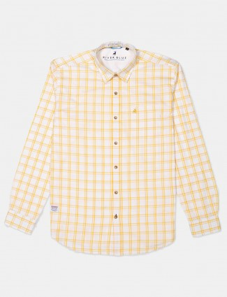 River Blue slim collar yellow checks shirt