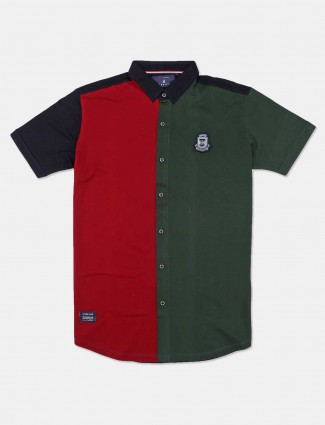 River Blue solid green cotton mens shirt