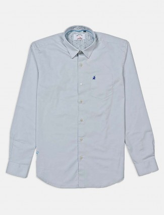 River Blue solid grey casual shirt
