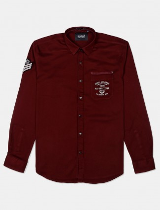 River Blue solid maroon casual shirt