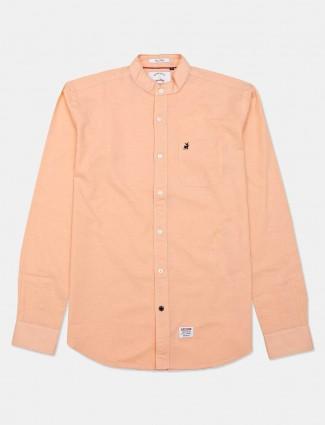River Blue solid peach casual shirt