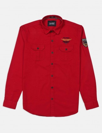 River Blue solid red patch pocket shirt