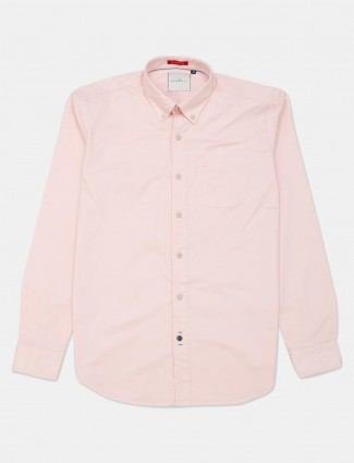 River Blue solid slim fit casual pink shirt