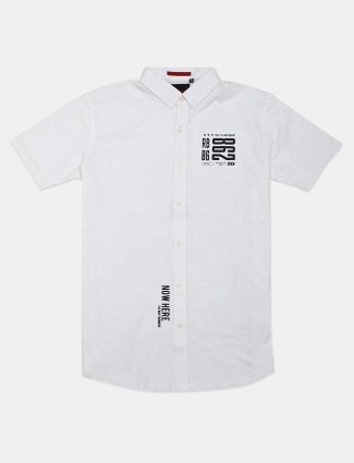 River Blue solid white casual wear mens shirt