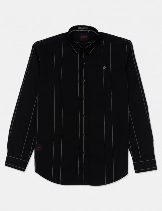 River Blue stripe black casual wear shirt