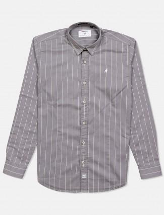 River Blue stripe grey cotton shirt