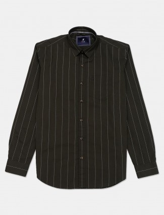 River Blue stripe olive cotton shirt
