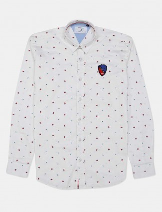 River Blue white printed casual shirt for mens