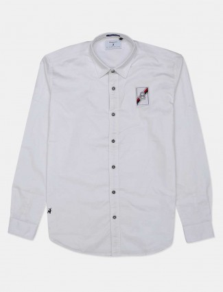 River Blue white slim fit solid shirt for mens