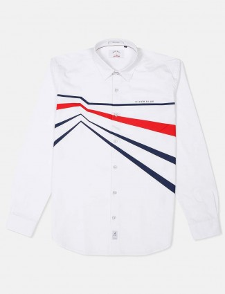 River Blue white stripe apple cut hem shirt