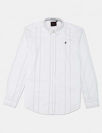 River Blue white stripe cotton slim collar shirt