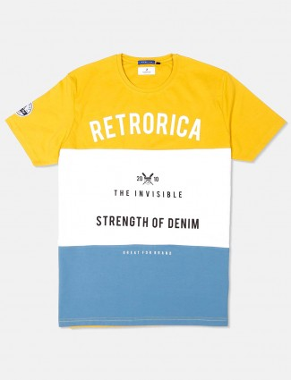 River Blue yellow and white printed t-shirt