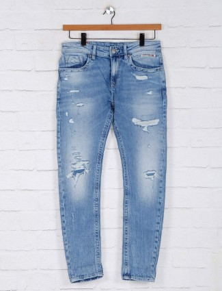 Rookies ripped effect light blue jeans