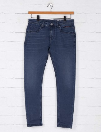 Rookies washed pattern blue jeans