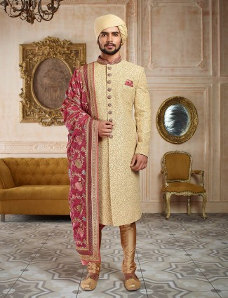 Rose pink and cream color sherwani