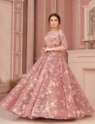 Rose pink ball gown in net
