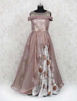 Rose pink color designer gown