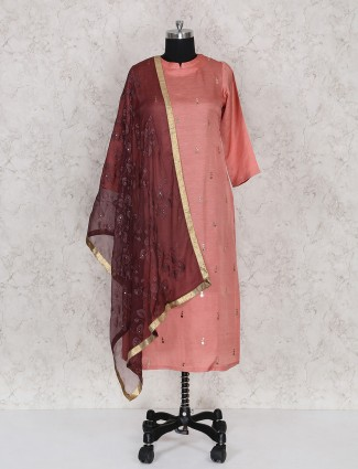 Rose pink color punjabi suit