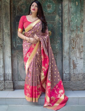 Rose pink designer semi silk saree
