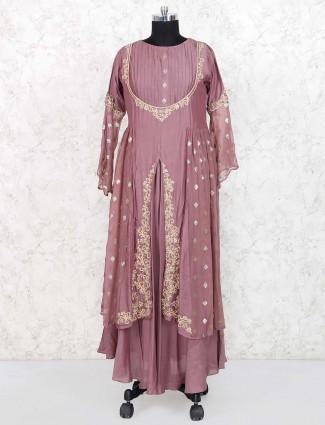 Rose pink designer snarkali salwar suit