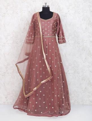 Rose pink floor length anarkali suit in net fabric