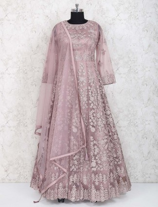 Rose pink floor length wedding anarkali suit
