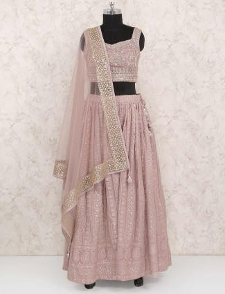 Rose pink georgette fabric lehenga choli