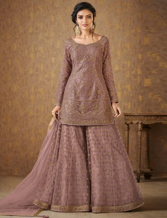 Rose pink net fabric palazzo suit