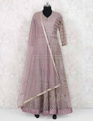 Rose pink net floor length anarkali suit
