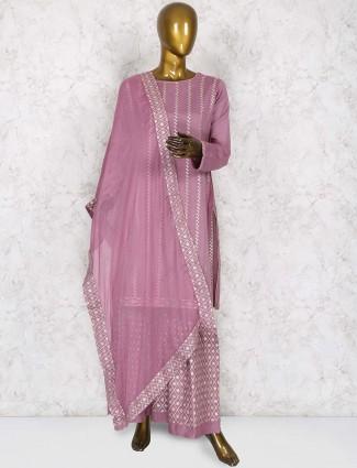 Rose pink punjabi sharara suit in cotton