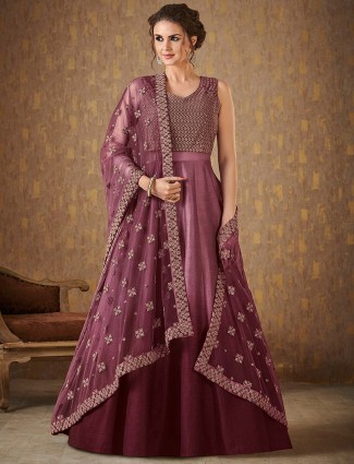 Rose pink raw silk floor length anarkali suit