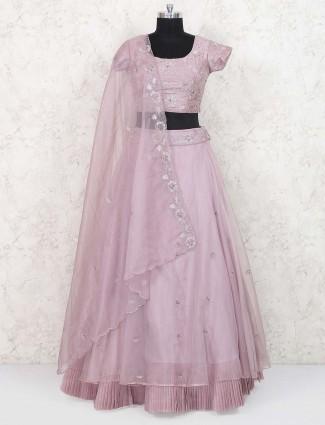 Rose pink tissue silk festive lehenga choli
