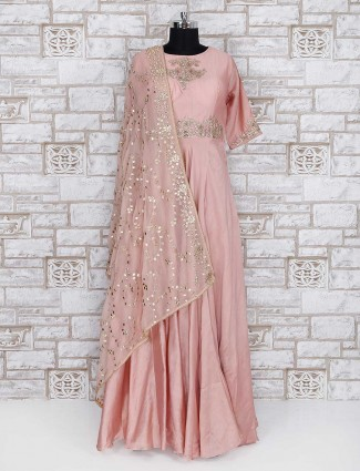 Rose pink wedding wear anarkali suit