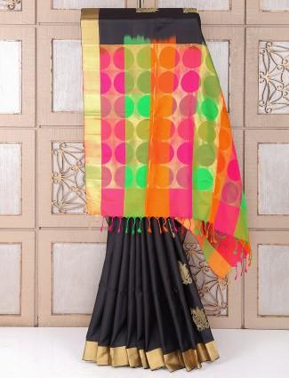 Royal Black color silk saree