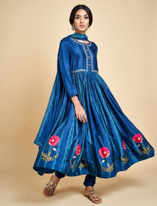 Royal blue anarkali suit in cotton silk for wedding