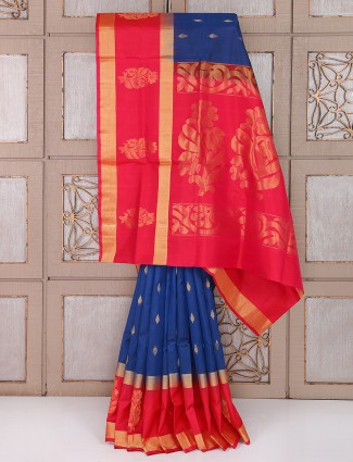 Royal blue and red silk reception saree