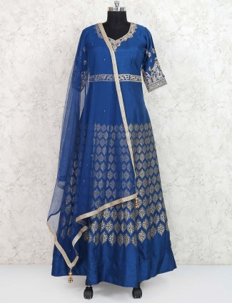 Royal blue banarasi silk pakistani anarkali suit
