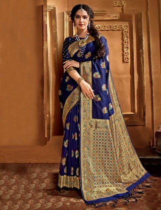 Royal blue banarasi silk saree festive wear