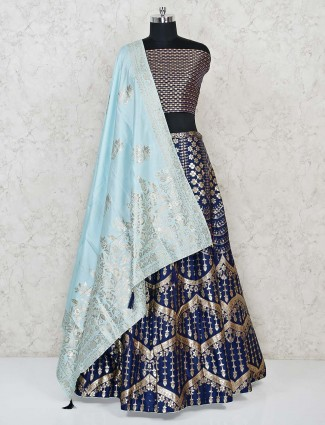 Royal blue banarasi silk semi stitched lehenga for reception