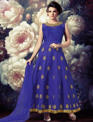 Royal blue banarasi silk wedding wear ready made anarkali salwar suit