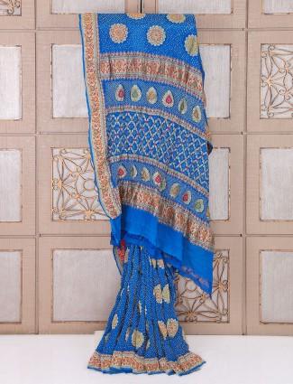 Royal blue bandhej saree