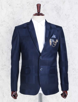 Royal blue checks blazer