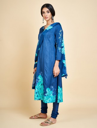 Royal blue churidar salwar suit in cotton