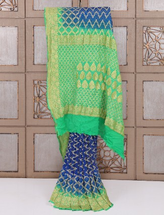 Royal blue color bandhej saree