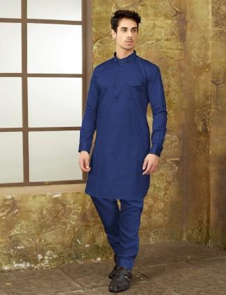 Royal blue color cotton pathani suit