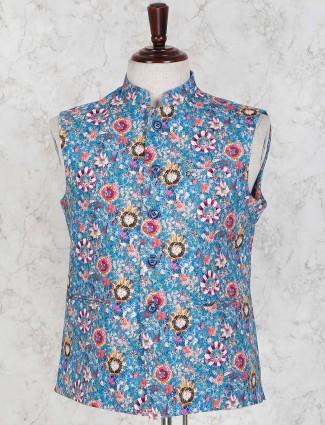 Royal blue color flower printed waistcoat
