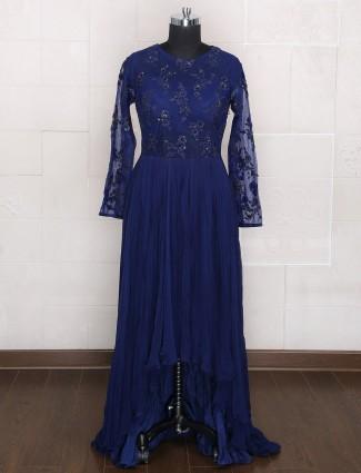 Royal blue color georgette designer gown