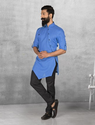 Royal Blue color linen kurta suit