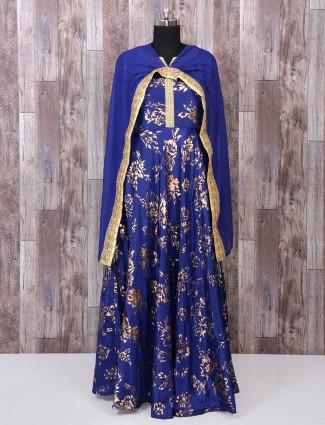 Royal blue color silk anarkali salwar suit