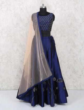 Royal blue color silk party wear lehenga choli